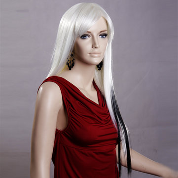 Long Straight White Highlights Black Wig